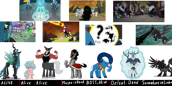 Size: 3000x1500 | Tagged: a canterlot wedding, antagonist, changeling, changeling queen, cozy glow, female, grogar, king sombra, lord tirek, my little pony: the movie, pony of shadows, queen chrysalis, safe, school raze, screencap, shadow play, spoiler:s09e01, spoiler:s09e02, storm king, the beginning of the end, twilight's kingdom