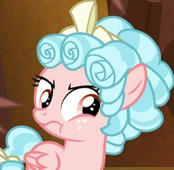Size: 640x624 | Tagged: safe, screencap, cozy glow, lord tirek, pegasus, pony, the beginning of the end, bow, cozy glow is best facemaker, cozy glow is not amused, cozybetes, cute, evil lair, female, female focus, filly, foal, grogar's lair, lair, solo focus