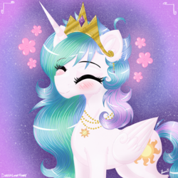 Size: 3500x3500 | Tagged: alicorn, artist:darkest-lunar-flower, blushing, cute, cutelestia, cutie mark necklace, ear fluff, eyes closed, female, jewelry, mare, necklace, pony, princess celestia, safe, smiling