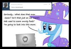Size: 1280x883   Tagged: safe, artist:evil-dec0y, trixie, pony, unicorn, comic:trixie vs., cape, clothes, computer, female, hat, mare, solo, trixie's cape, trixie's hat