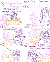 Size: 1280x1611   Tagged: safe, artist:adorkabletwilightandfriends, spike, starlight glimmer, dragon, pony, unicorn, comic:adorkable twilight and friends, adorkable, adorkable friends, alternate hairstyle, bed, bedroom, bedroom eyes, blanket, butt, comic, cute, dialogue, dock, dork, duo, equestria girls ponified, featureless crotch, female, hat, humor, lidded eyes, limited palette, lineart, lying down, male, mare, nervous, numbers, onomatopoeia, pillow, plot, ponified, shipping, simple background, sleeping, sleepy, slice of life, snoring, sound effects, sparlight, straight, sweat, sweatdrops, sweating bullets, tension, text, white background, zzz
