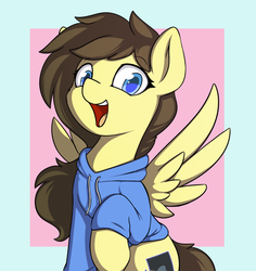 Size: 1000x1060 | Tagged: safe, artist:theparagon, oc, oc only, oc:retro hearts, pegasus, pony, blue eyes, bust, female, happy, hooves, looking at you, mare, simple background