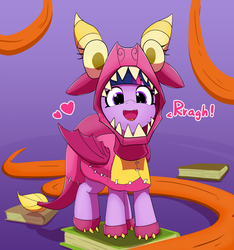 Size: 4501x4805 | Tagged: alicorn, animal costume, artist:pabbley, board game, book, clothes, costume, cute, :d, daaaaaaaaaaaw, dialogue, dragon costume, dragon pit, female, gradient background, happy, heart, looking at you, mare, open mouth, pabbley is trying to murder us, pony, purple background, rawr, safe, simple background, smiling, solo, twiabetes, twilight sparkle, twilight sparkle (alicorn), uncommon bond, weapons-grade cute