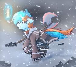 Size: 4000x3500 | Tagged: artist:witchtaunter, axe, blizzard, commission, lantern, male, oc, oc:blue, oc only, pony, safe, snow, snowfall, solo, stallion, unicorn, weapon