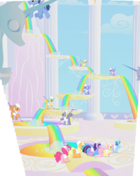 Size: 2162x2709 | Tagged: safe, composite screencap, edit, edited screencap, screencap, applejack, blues, cloud break, emerald green, fluttershy, green gem, noteworthy, parasol, pinkie pie, rainbow dash, rainbowshine, sunshower raindrops, thorn (character), twilight sparkle, earth pony, pegasus, pony, unicorn, sonic rainboom (episode), background pony, cloud, cloud walking spell, cloudsdale, column, female, flying, hard hat, liquid rainbow, mare, panorama, rainbow, species swap, statue, unicorn twilight, unnamed pony, weather factory, weather factory uniform