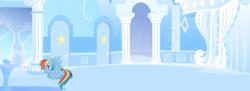 Size: 2492x911 | Tagged: safe, composite screencap, edit, edited screencap, screencap, rainbow dash, pegasus, pony, sonic rainboom (episode), cloud, cloudsdale, dressing room, female, mare, mirror, number, panorama, scared, scaredy dash, stage fright