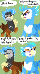 Size: 1023x1900   Tagged: safe, artist:angexci, oc, oc only, oc:anger parrot, oc:sdrow land, griffon, parrot griffon, comic, dialogue, duo, female, green background, griffon oc, griffonized, griffsona, simple background, species swap, speech bubble