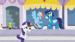 Size: 1920x1080 | Tagged: clothes, laughing, pegasus, rainbow dash, raised hoof, rarity, rarity investigates, safe, screencap, sitting, soarin', unicorn, uniform, wonderbolts uniform