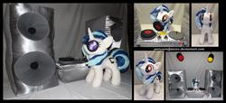 Size: 4275x1950 | Tagged: safe, artist:peruserofpieces, dj pon-3, vinyl scratch, pony, unicorn, accessories, front view, horn, irl, lights, mouth hold, photo, plushie, profile, record, record player, speakers, spotlight, stage light, stereo, sunglasses, turntable