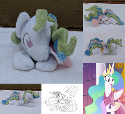 Size: 2382x2160 | Tagged: alicorn, artist:lauren faust, artist:plushbyanto, beanie (plushie), behind the scenes, chibi, clothes, cloven hooves, concept art, crown, cute, cutelestia, dress, female, gala dress, happy, hoof shoes, horn, irl, jewelry, laying down, lineart, make new friends but keep discord, mare, minky, missing accessory, monochrome, necklace, no crown, no mouth, no nostrils, no pupils, open mouth, pencil drawing, photo, plushie, pony, princess celestia, prone, raised hoof, rearing, regalia, safe, screencap, sketch, smiling, solo, sparkles, sploot, spread wings, tiara, toy, traditional art, underhoof, wide eyes, wings