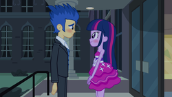 Size: 1920x1080 | Tagged: alicorn, bare shoulders, blushing, clothes, dress, equestria girls, equestria girls (movie), fall formal outfits, female, flashlight, flash sentry, male, safe, screencap, shipping, sleeveless, smiling, straight, strapless, twilight sparkle, twilight sparkle (alicorn)