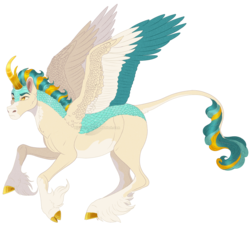 Size: 1464x1333 | Tagged: artist:bijutsuyoukai, colored hooves, colored wings, colored wingtips, crack ship offspring, hybrid, kirin hybrid, magical lesbian spawn, male, multicolored wings, oc, oc only, oc:thunderstorm, offspring, parent:lightning dust, parent:rain shine, safe, simple background, solo, transparent background, unshorn fetlocks, wings