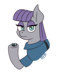 Size: 657x777 | Tagged: artist:syscod, boulder (pet), earth pony, eyeshadow, female, looking at you, makeup, mare, maud pie, pony, safe, simple background, transparent background