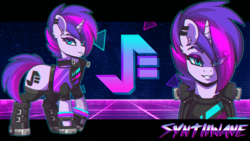 Size: 3840x2160 | Tagged: safe, artist:ciderpunk, oc, oc:synthwave, pony, unicorn, 80s, bust, clothes, color porn, cute, cyberpunk, ear piercing, earring, glow bracelets, glowstick, jacket, jewelry, looking at you, piercing, punk, retro, retrofuturism, retrowave, socks, synthwave, synthwave grid, vest