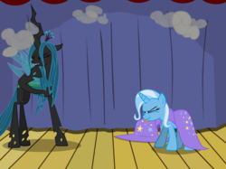 Size: 1280x957   Tagged: safe, artist:evil-dec0y, queen chrysalis, trixie, changeling, changeling queen, pony, unicorn, comic:trixie vs., cape, clothes, duo, duo female, eyes closed, female, hat, mare, stage, tongue out, trixie's cape, trixie's hat