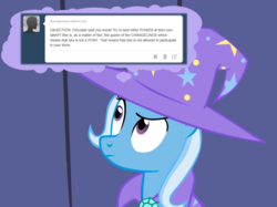 Size: 1280x957   Tagged: safe, artist:evil-dec0y, trixie, pony, unicorn, comic:trixie vs., cape, clothes, female, hat, mare, solo, trixie's cape, trixie's hat