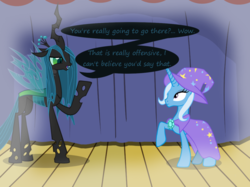 Size: 1280x957   Tagged: safe, artist:evil-dec0y, queen chrysalis, trixie, changeling, changeling queen, pony, unicorn, comic:trixie vs., cape, clothes, duo, duo female, female, hat, imagine spot, mare, raised hoof, stage, trixie's cape, trixie's hat