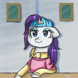 Size: 2000x2000 | Tagged: alternate hairstyle, artist:yumomochan, backwards ballcap, baseball cap, cap, clothes, disguise, female, friendship university, hat, mare, plainity, pony, rarity, safe, schoolgirl, season 8, spoiler:s08, student, unicorn