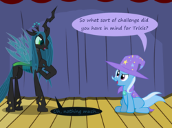 Size: 1280x957   Tagged: safe, artist:evil-dec0y, queen chrysalis, trixie, changeling, changeling queen, pony, unicorn, comic:trixie vs., cape, clothes, duo, duo female, female, hat, mare, stage, trixie's cape, trixie's hat