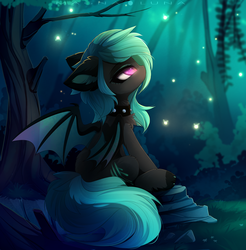 Size: 3666x3728 | Tagged: safe, artist:magnaluna, oc, oc only, oc:jade glow, bat pony, pony, bat pony oc, choker, commission, female, forest, looking up, mare, solo, spiked choker, tree