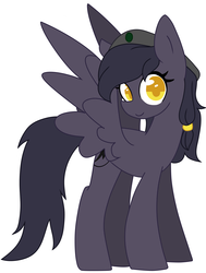 Size: 1992x2632 | Tagged: safe, artist:copster, oc, oc only, oc:mir, pegasus, pony, beret, female, hair wrap, hat, looking at you, simple background, smiling, solo, wings