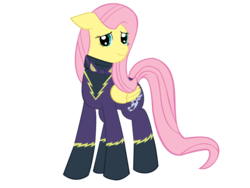 Size: 1280x960 | Tagged: safe, artist:derpyapples, fluttershy, pegasus, pony, clothes, costume, cute, female, goggles, mare, requested art, shadowbolts, shadowbolts costume, shyabetes, simple background, solo, transparent background, unmasked