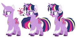Size: 920x452 | Tagged: alicorn, alternate design, artist:superrosey16, bald, base used, cheerilee, colored wings, multicolored wings, pony, safe, twilight sparkle, twilight sparkle (alicorn), wings