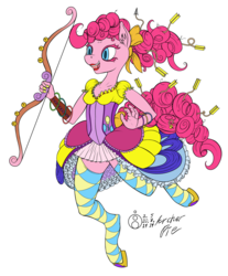 Size: 1240x1500 | Tagged: anthro, arrow, artist:sepiakeys, bow and arrow, bow (weapon), clothes, corset, pinkie pie, safe, short skirt, simple background, skirt, solo, stockings, thigh highs, unguligrade anthro, weapon, white background