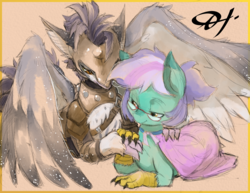 Size: 2475x1914 | Tagged: safe, artist:alts-art, oc, oc only, oc:tea tree, oc:teatree flower, oc:zephyr, hippogriff, armor, claws, cloak, clothes, colored sketch, colored wings, couple, duo, glasses, hippogriff oc, looking at each other, lying down, multicolored hair, necktie, orange background, pointy nose, signature, simple background, sketch, spread wings, talons, watercolor painting, wing fluff, wing freckles, wings