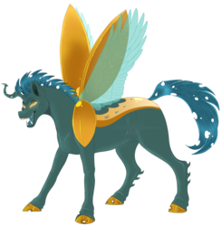 Size: 1171x1197 | Tagged: artist:bijutsuyoukai, changepony, crack ship offspring, magical lesbian spawn, male, oc, oc:lightning bug, oc only, offspring, parent:lightning dust, parent:queen chrysalis, pony, safe, simple background, solo, transparent background