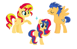 Size: 1076x684 | Tagged: artist:dawnthebarrel, family, female, flashimmer, flash sentry, male, offspring, parent:flash sentry, parents:flashimmer, parent:sunset shimmer, pony, safe, shipping, straight, sunset shimmer