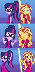 Size: 1024x2114   Tagged: safe, edit, screencap, sci-twi, sunset shimmer, twilight sparkle, equestria girls, equestria girls series, i'm on a yacht, spoiler:eqg series (season 2), clothes, cute, dancing, friendship, geode of empathy, geode of telekinesis, glasses, happy, lidded eyes, looking at you, magical geodes, ponytail, shimmerbetes, smiling, sunlight, twiabetes