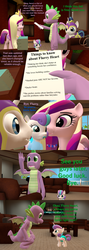 Size: 1920x5400 | Tagged: safe, artist:papadragon69, princess cadance, princess flurry heart, shining armor, spike, alicorn, dragon, pony, comic:spike's cyosa, 3d, backpack, comic, crystal empire, cyoa, diaper, kiss on the cheek, kissing, list, older, older spike, pacifier, source filmmaker, teenage spike, teenager, winged spike