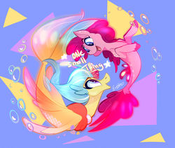 Size: 1280x1079 | Tagged: safe, artist:bombstaticz, pinkie pie, princess skystar, seapony (g4), my little pony: the movie, bubble, cute, diapinkes, duo, female, looking at each other, open mouth, profile, seaponified, seapony pinkie pie, skyabetes, species swap, triangle, underwater, unshorn fetlocks