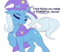 Size: 3000x2559 | Tagged: safe, artist:evehly, trixie, pony, unicorn, cape, clothes, cute, dialogue, diatrixes, eyes closed, female, floppy ears, hat, leg fluff, mare, open mouth, reaction image, simple background, solo, trixie's cape, trixie's hat, white background