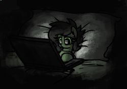 Size: 506x355 | Tagged: artist:plunger, bed, blanket, comfy, computer, earth pony, female, filly, headphones, laptop computer, night, oc, oc:filly anon, oc only, pillow, pony, safe, solo