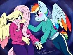 Size: 2048x1536 | Tagged: safe, artist:incendiaryboobs, fluttershy, rainbow dash, anthro, clothes, colored wings, female, flutterdash, multicolored wings, rainbow wings, shipping, sweater, sweatershy, trans male, transgender, two toned wings, wings