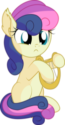 Size: 5044x9611 | Tagged: absurd resolution, adorabon, artist:cyanlightning, bon bon, chest fluff, cute, ear fluff, earth pony, female, filly, holding, lyre, open mouth, pony, safe, simple background, sitting, smiling, solo, .svg available, sweetie drops, transparent background, vector, weapons-grade cute, younger