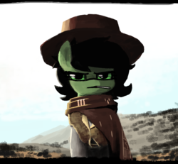 Size: 600x555 | Tagged: artist:plunger, badass, badass adorable, candy, clint eastwood, clothes, cowboy hat, cute, female, filly, food, hat, lollipop, movie reference, oc, oc:filly anon, oc only, poncho, ponified, pony, safe, solo, the good the bad and the ugly, the man with no name