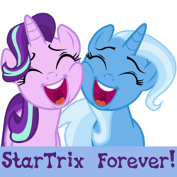 Size: 375x375 | Tagged: safe, artist:the smiling pony, starlight glimmer, trixie, pony, unicorn, derpibooru, .svg available, derpibooru badge, female, happy, lesbian, meta, shipping, simple background, smiling, squishy cheeks, startrix, svg, transparent background, vector