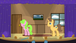 Size: 1280x720 | Tagged: artist:evil-dec0y, daisy, doctor horse, doctor stable, flower wishes, pony, safe, theater, trixie