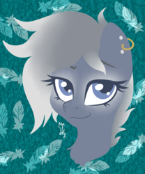 Size: 2920x3508 | Tagged: artist:hellishnya, ear piercing, earring, feather, female, hippogriff, hybrid, jewelry, oc, oc:artemis, oc only, piercing, safe, simple background, smiling, smirk, solo