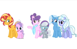 Size: 1022x651 | Tagged: alternate universe, artist:furriesandflurries, diamond tiara, earth pony, equestria girls, equestria girls ponified, female, ponified, pony, safe, siblings, silver spoon, simple background, sisters, sugarcoat, sunset shimmer, suri polomare, trixie, unicorn, white background
