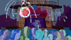 Size: 1280x720 | Tagged: amethyst star, background pony, background pony audience, bipedal, boast busters, cape, clothes, coco crusoe, dizzy twister, doctor whooves, earth pony, eyes closed, female, fireworks, fuchsia fizz, hat, lyra heartstrings, male, mare, mjölna, oakey doke, orange swirl, pegasus, pony, safe, screencap, seafoam, sea swirl, silver spanner, sparkler, stage, stallion, time turner, trixie, trixie's cape, trixie's hat, unicorn, welch