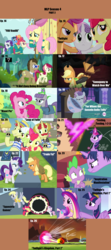 Size: 1760x3975 | Tagged: 3d glasses, alicorn, alligator, apple bloom, apple bloom's bow, applejack, applejack's hat, artist:nightshadowmlp, beam, bed, bet, big macintosh, blanket, book, bow, bow ties, breezie, brooch, centaur, chair, chalkboard, cowboy hat, crown, cute, cutie mark crusaders, derpy hooves, doctor whooves, dragon, earth pony, edit, edited screencap, equestria games, equestria games (episode), facial hair, female, filli vanilli, filly, fireproof boots, flam, flim, flim flam brothers, flim flam miracle curative tonic, fluttershy, flying, for whom the sweetie belle toils, fraud, glare, glowing horn, golden oaks library, granny smith, grass, gummy, hair bow, hat, hoop, horn, hubble, hub logo, huddle, impact font, inspiration manifestation, it ain't easy being breezies, jewelry, leap of faith, lord tirek, mad, magic, male, mare, maud pie, maud pie (episode), mlp season compilation, moustache, necklace, open mouth, pegasus, pie sisters, pillow, pinkie pie, pony, ponytones, ponytones outfit, ponyville, princess cadance, quartet, raised eyebrow, rarity, regalia, roseluck, saddle bag, safe, scootaloo, screencap, seabreeze, season 4, season 4 compilation, siblings, sisters, sisters-in-law, smoke, solo, somepony to watch over me, spike, stairs, stallion, stetson, sweetie belle, swimming pool, talking, testing testing 1-2-3, text, the hub, the ponytones, time turner, toe-tapper, torch song, trade ya, tv rating, tv-y, twilight's kingdom, twilight sparkle, twilight sparkle (alicorn), twilight time, unicorn, wall of tags, water, wonderbolts logo