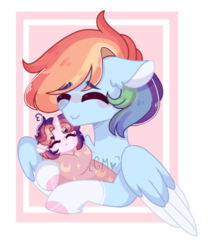 Size: 1192x1412 | Tagged: artist:moon-rose-rosie, female, magical lesbian spawn, mother and daughter, oc, oc:celestial moon, offspring, parent:rainbow dash, parents:twidash, parent:twilight sparkle, pony, rainbow dash, safe, swaddling