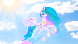 Size: 1920x1080 | Tagged: 3d, alicorn, artist:loveslove, flying, looking at you, pony, praise the sun, princess celestia, safe, sky, smiling, solo, sun