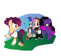 Size: 2200x2000 | Tagged: afro, artist:andromedasparkz, bandage, blank flank, boots, clothes, cyborg, earth pony, female, fingerless gloves, freckles, gloves, headphones, heart eyes, hoof wraps, jeans, jewelry, mare, multicolored hair, necklace, nose piercing, nose ring, oc, oc:al.ii, oc:cherry fizzy, oc:ground pound, oc only, oc:scavy, open mouth, overalls, pants, piercing, pony, raised hoof, safe, scar, shirt, shoes, shorts, socks, spiked wristband, tanktop, tape, t-shirt, unicorn, wingding eyes, wristband