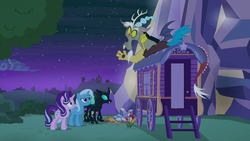 Size: 1280x720 | Tagged: safe, screencap, discord, starlight glimmer, thorax, trixie, changeling, to where and back again, reformed four, reformed starlight, trixie's wagon