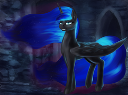 Size: 2683x2000 | Tagged: alicorn, artist:dukevonkessel, castle, ethereal mane, eyeshadow, fangs, female, horn, lidded eyes, looking at you, makeup, mare, night, nightmare moon, pony, safe, smiling, solo, wings